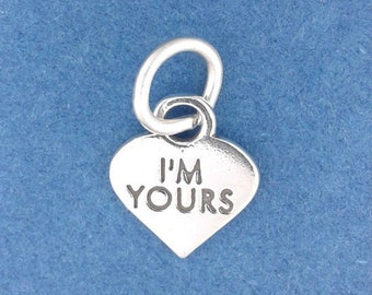 I'M YOURS Heart Charm .925 Sterling Silver Valentine Candy Miniature Small - f5368
