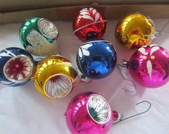 Vintage Small Christmas Glass Ornaments - Vintage Bulbs - Christmas Ornaments -