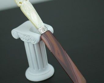 Antique agate and solid silver letter opener page turner with Nacre handle gift