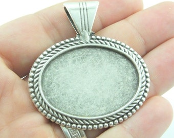 4 psc Silver Tone Metal Pendant Base Findings ,38x28mm ,Oval Pad Cameo Setting , Supplies