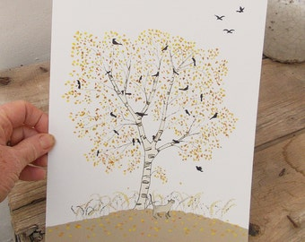 A4 PRINT of a SILVER BIRCH tree , a small cat under an Autumnal tree filled with black birds and covered in golden leaves  .