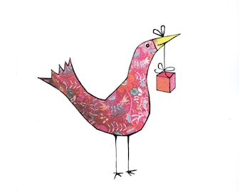 HAPPY BIRTHDAY BIRD. A happy chirpy cheaky pink floral bird carrying a parcel ,ready to cheer anyone up .Printed card from collage original.