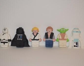 "Star Wars ""Inspired"" Fondant Cake Toppers, star wars cake topper, fondant star wars figures, lego star wars"