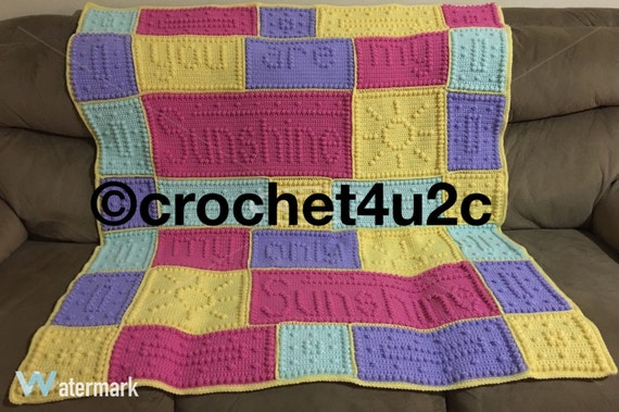 Free Crochet Pattern For You Are My Sunshine Blanket : Handmade Crochet blanket You are my Sunshine