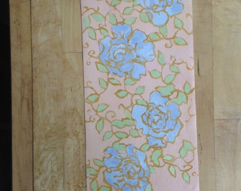 Blue Roses - Table Mat - Hand Painted- Maine