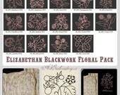 """Elizabethan Blackwork  Floral Designs Pack - Historical Embroidery Designs for hoop 4x4"""""""
