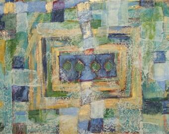 Aspen Collage- Original Large Art- Mixed Media on Matboard- Blue, Green, Gold Metallic- 36x24- Leaves, Lace, Music- Large Wall Art