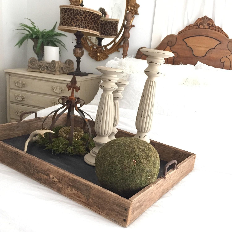 Large wood tray handmade rustic wedding table centerpiece
