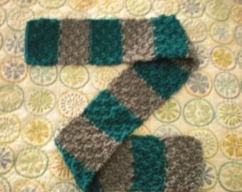 Handknit Scarf, Women's Teal Scarf, Handknit Striped Scarf, Women's Knit Striped Scarf, Handknit Green Scarf