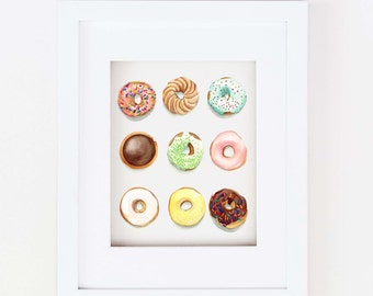 Matted 11x14 Watercolor Donuts Print