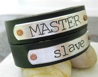 Master and Slave Bracelets,  Set of 2, Leather Cuff Bracelets, BDSM relationship, BDSM couple, Master Bracelet, Slave cuff, BDSM gifts