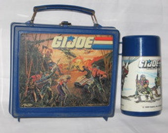 vintage 1986 aladdin g.i. joe lunchbox and thermos