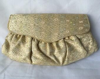 Vintage Gold Embroidered Purse, Evening Bag