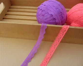purple Stretch Lace Trim. pink  Lace Elastic-3yards