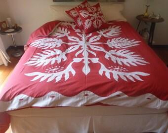 Jack Fruit Leaf Applique Embroidered Quilt Cover Set - King Size