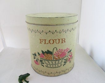 Rustic Metal Flour Canister Kitchen Container Kitchen Storage Kitchen Canister Rustic Canister Tin Canister Flour Holder Metal Canister