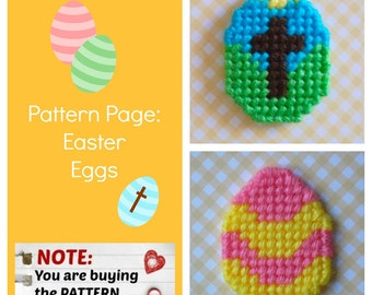 "Plastic Canvas Pattern Page: ""Easter Eggs"" (2 designs, graphs and photos, no written instructions) ***PATTERN ONLY!***"