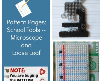 "Plastic Canvas Pattern Pages: ""Microscope and Loose Leaf"" (2 designs, graphs and photos, no written instructions) **PATTERN ONLY!**"