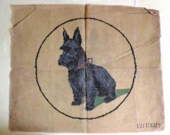 Large Needlepoint Canvas of Scottie Dog, Vintage Czech Ready To Stitch, Yarn Not Included