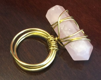 Gold wire wrapped Rose Quartz Solitaire Ring.