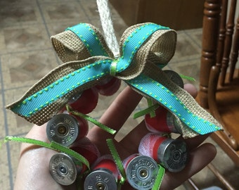 Blue/lime green accent shotgun shell wreath ornament