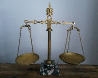 Vintage Brass Scales with Marble Base