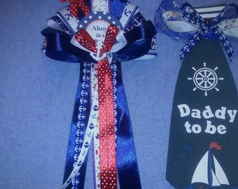 Baby Shower Set Mommy to Be Corsage and Daddy to Be Tie Nautical Sailor Theme