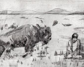 Buffalo and Girl Original Intaglio Print - Limited Edition of 5