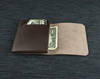 Brown leather wallet. Handmade leather wallet. Designer men's wallet. Minimalist leather wallet. Slim wallet. Dark brown wallet.