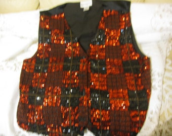 Vest for Men Beaded and With Sequins Handmade size 2x