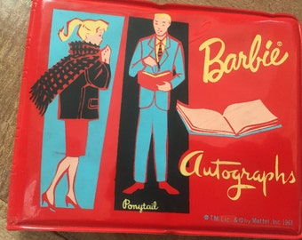 Vintage Red Vinyl Barbie Autograph  Book  Ponytail 1961  Mattel Reduced by 10.00