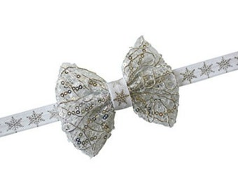 Gold Silver Bow Ivory Headband Holiday Glitter Sparkly Gift Christmas Baby Newborn Girl Toddler  013964707076