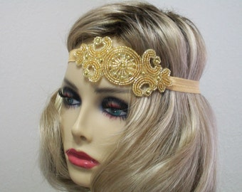Flapper Headpiece Art Deco Headband 1920s Headpiece Downton Abby Headband Beaded Art Deco Gold Beaded Headband Roaring 20s