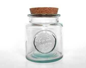 17 oz round glass jar (500 ml) with cork, large glass jar, eco-friendly recycled Spanish glass jar, DIY gift, wedding, party favor supply
