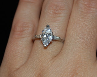Vintage Breathtaking Timeless Marquise CZ Solitaire Baguette Sterling Silver Engagement Anniversary Wedding Ring #BKC-RNG177
