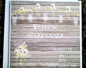 "Handmade Personalised 6"" Square Vintage Wedding Acceptance Card"