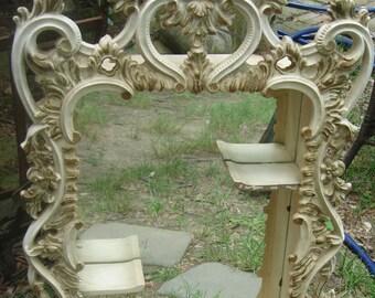 antique ornate mirror shadow box /antique  ornate mirror display shelf
