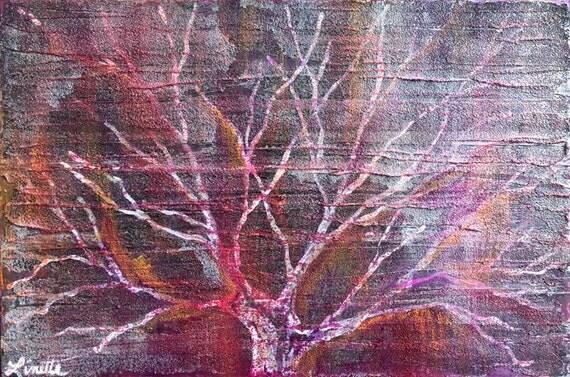 Peinture d 39 arbre sans feuilles en violet rouge magenta - Arbre feuille rouge toute l annee ...