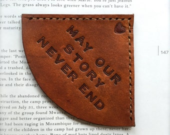 Personalized Tan Leather Corner Bookmark - Custom Message Lettering - Leather Anniversary - For Him or Her - Christmas Custom Leather Gift