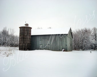 Rustic grey barn, Winter barn, Snow, Winter scene, Country scene