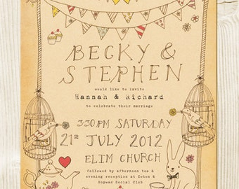 Alice in wonderland, tea party themed wedding invitation