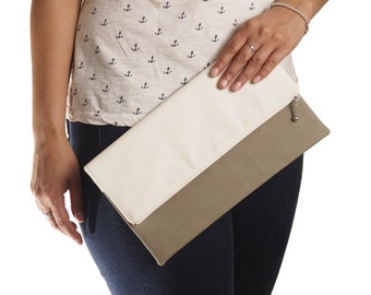Taupe and white canvas foldover clutch, zipper clutch, zippered clutch, clutch purse, clutch bag, summer clutch, de almeida designs