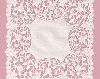 """8"""" x 8"""" White Square Lace Paper Doilies - 50 Quantity"""