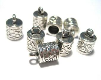 10pcs Antique Silver Cone Cord end Cap Tassel Cap 12mm