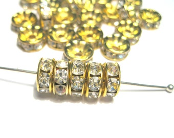 Clear Rhinestone Spacer Beads Gold Tone 8mm Rondelles A GRADE