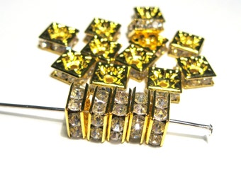 Clear Square Rhinestone Spacer Beads GoldTone 8mm A Grade