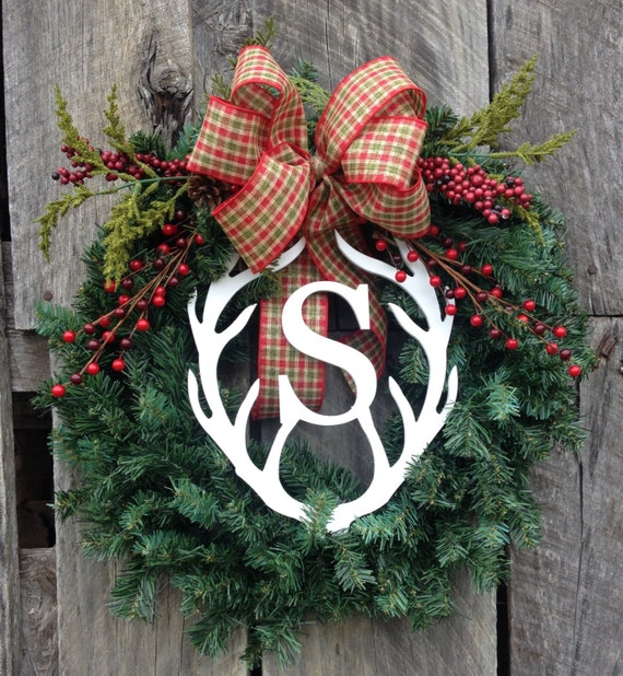 Rustic Christmas Wreath, Burlap Christmas Wreath, Antler Monogram Wreath, Red and Plaid Wreath, Christmas Wreath