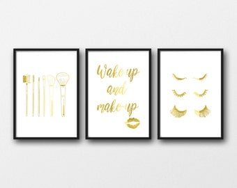 GOLD FOIL Make-up prints, Set of 3, Makeup brushes, Wakeup and make-up, eyelashes, real gold foil, lipstick mark, gold makeup prints