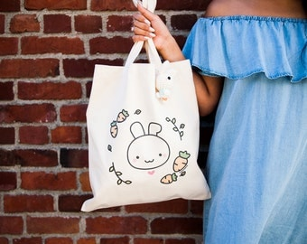 Momomints Bunny Tote Bag - Bunny Rabbit Canvas Bag - Cute Bunny with Carrot Tote Bag - Book Bag - School Bag