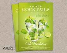 Cocktail Birthday Party Invitation | Join Us For Cocktails Invitations | Mojito Happy Hour, Girls Night Out, Bachelorette, Hens Party Invite